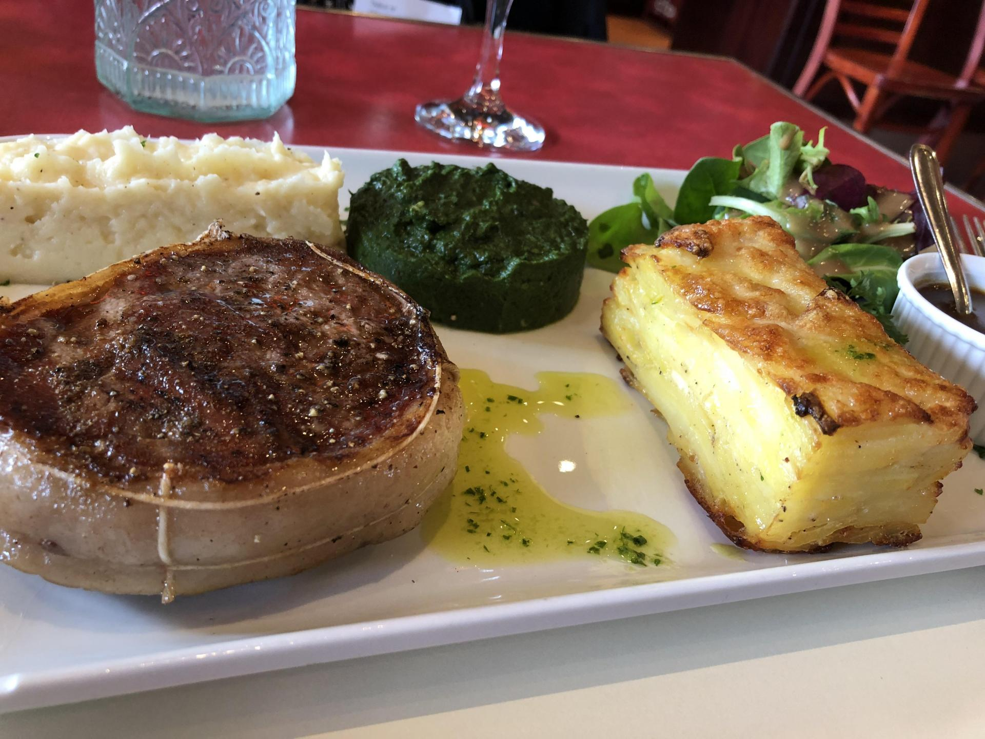 Veal, gratin dauphinois, two